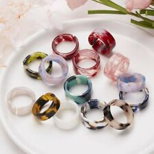 2021 Fashion 5Pcs/Set Transparent Resin Acrylic Colorful Rings Set Women Jewelry