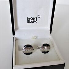 MONTBLANC MEISTERSTUCK ROUND STEEL AND BLACK CUFFLINKS NEW / BOX MADE IN GERMANY