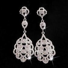 1af48332574c Precioso Boda Diamante Imitacion Pendientes Novia Joyería Cristal Largos 1  Par