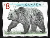 Canada #1694(1) 1997 $8.00 multi WILDLIFE - GRIZZLY BEAR Used