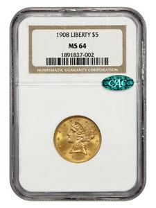 1908 Liberty $5 NGC/CAC MS64 - Generic Gold Half Eagle - Generic Gold Half Eagle