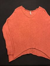 Free People Sweater/Pull Over Womens Sz.XS-Woolaine Bl-Tangerine-L Sleeve-V Neck