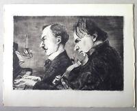 Achille OUVRE gravure eau forte etching l'orchestre pianiste violoniste musicien