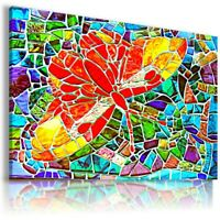 BUTTERFLY STAINED GLASS Canvas Wall Art Picture AB572 MATAGA  NO FRAME-ROLLED