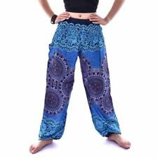 Men Women Thai HAREM Trousers Boho Festival Hippy Smock High Waist Yoga Pants UK Purple