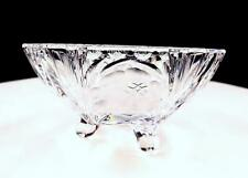 """ELEGANT PRESSED GLASS ROSE ETCHED AND LEAVES 4 1/2"""" TRI FOOTED BOWL"""