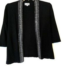 Rhinestone Evening Womens Sweater PM 3/4 Sleeve Open Front M Collection