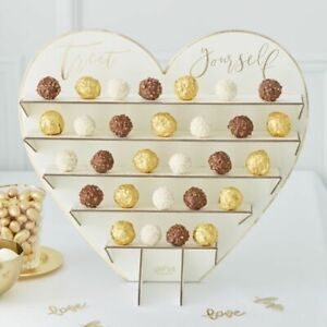 Gold Foil Heart Shaped Wedding Chocolate/Sweet Stand 36cm x 40cm Pack of 1 Card