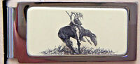 Money Clip Barlow Scrimshaw End of Trail Hinged Silver Western Art Horse 526410