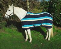 Rhinegold Elite Fleece Show Cooler Fleece Horse Rug - Turquoise Stripe