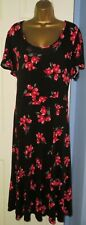 ✿Ladies YOURS black mix floral print jersey long dress size 22/24✿