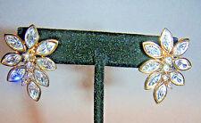 Vintage MONET Signed Flower Rhinestone Pierced Earrings Gold - 1980s