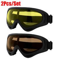 2x Winter Snow Sports Skiing Snowboard Goggles Windproof Dustproof Glasses UV400