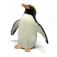 Ceramic Penguin Rock Figurine Handmade Porcelain Miniatures Collectible Male