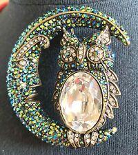 Brooch Pin Green Metallic Halloween Wow Heidi Daus Harvest Moon Crystal Accented