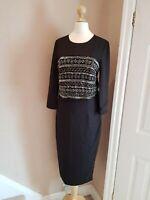 Ted Baker Lisbeth Dress Heavily Embellished Beaded Black Pencil Dress UK8 NEW