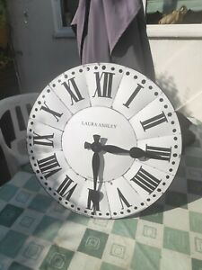 Very Large Laura Ashley metal front Clock battery operated country cottage style