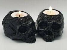 BLACK Spider Human Realistic Skull Tealight SET x 2 Goth Halloween Candle Holder