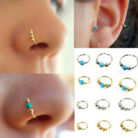 Turquoise Beads Hoop Ear Nose Rings Earring Cartilage Surgical Piercing Jewelry