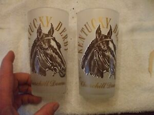 TWO 1963 FROSTED GLASS KENTUCKEY DERBY CHURCHILL DOWNS MINT JULIP GLASSES