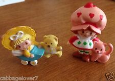 1980s Vintage Strawberry Shortcake w/Cat and Butter Cookie In Buggy Mini Figures