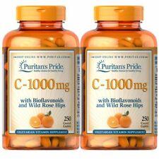 Puritans Pride Vitamin C-1000mg Bioflavonoids & Rose Hips 250 Caplets (2 PACK)