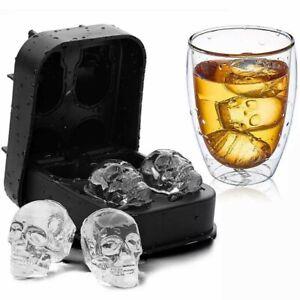 3er Pack Totenkopf Eiswürfelform aus Lebensmittel Silikon I Fun Party Eiswürfel