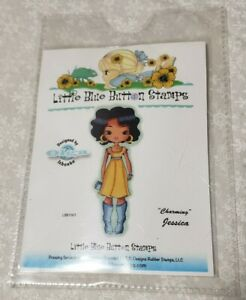 Acrylic cling Stamp set little blue button stamps charming Jessica little girl