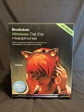 Brookstone Wireless Cat Ear Headphones Bluetooth Color Changing Lights Black
