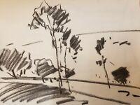"JOSE TRUJILLO Modernist Original Charcoal Paper Sketch Drawing 12"" Landscape"