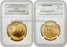 Israel 1968 Jerusalem Reunification 100 Lrt Gold Proof Coin NGC PF 67