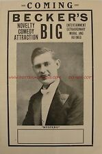 Becker (Mystero), Magician / Vaudeville Advertising Brochure, Ca. 1920S