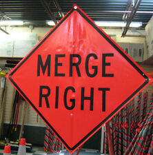 "Merge Right  Fluorescent Vinyl With Ribs Road Sign 48"" X 48"""