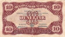 #Monetary Bank of Slovenia Liberation Front 10 Lir 1944 P-R12 VG Arms