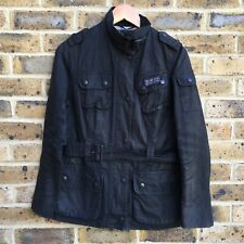 BARBOUR INTERNATIONAL Waxed Jacket Womens Size 12 UK Black Belted Zip Up