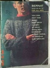 BERNAT BOOK 88 FOR ALL MEN 1960 KNIT SWEATER BOAT NECK SHIRT CARDIGAN VEST SOCK