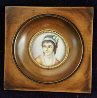 Ancienne Miniature Signé Guyah ? Portrait Dame 1850 19ème