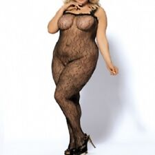3139 - Black plus size floral open gusset full body stocking bodysuit XL 12/16