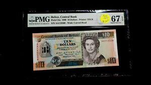 1990 TEN DOLLARS PMG SUPERB GEM UNC 67 EPQ BELIZE CENTRAL BANK $10 NOTE BUY IT!