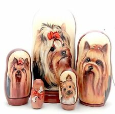 Yorkshire Terrier dog breed Russian Handmade Nesting Doll poppy Set Yorkie