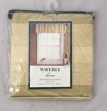 "NEW! WAVERLY HOME Window Valance Curtain 54""x15"" Beige/Green Stripe 100% Cotton"