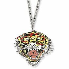 Ed Hardy Necklace Dog Tag Pendant  Tribal Gothic Tattoo Style Lion Christian Aud