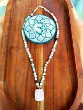 Amazonite and Rose Quartz Crystal  Necklace Beads Gypsy Yoga Boho