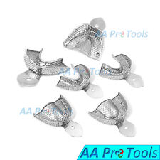 Dental Impression Trays Autoclavable Metal Perforated Stainless Steel 6 Pieces