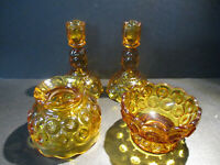 LE Smith Glass Amber Moon & Stars Assorted Items Candle Sticks Fairy Lamp Shade