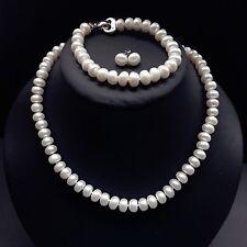 Genuine Cultured Freshwater 9-10mm Pearl Necklace Bracelet Earring set