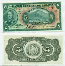 BOLIVIA NOTE 5 BOLIVIANOS LAW 1928 SERIAL W7 P 120 UNC