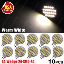 10x Warm White 3500K High Bright G4 24 SMD Reading Marine Boat RV LED Light Bulb