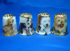 Birchcroft Thimbles -- Set of Four  -- Gold Top Assorted Dogs