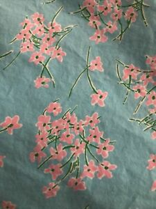 """Vintage Lilly Pulitzer Queen Size Fitted Bed Sheet 14"""" Pocket Blue Asian Flowers"""